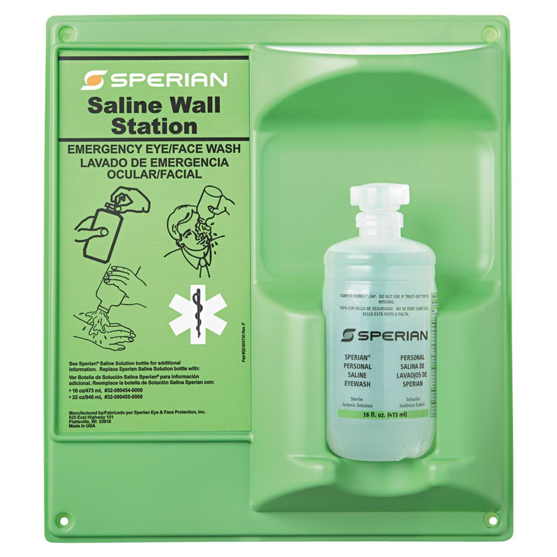 Honeywell 16 oz. (473 ml) Single Bottle Trilingual Sterile Saline Eye Wash Wall Station (Includes Full Bottle, 8 Stations Per Case)