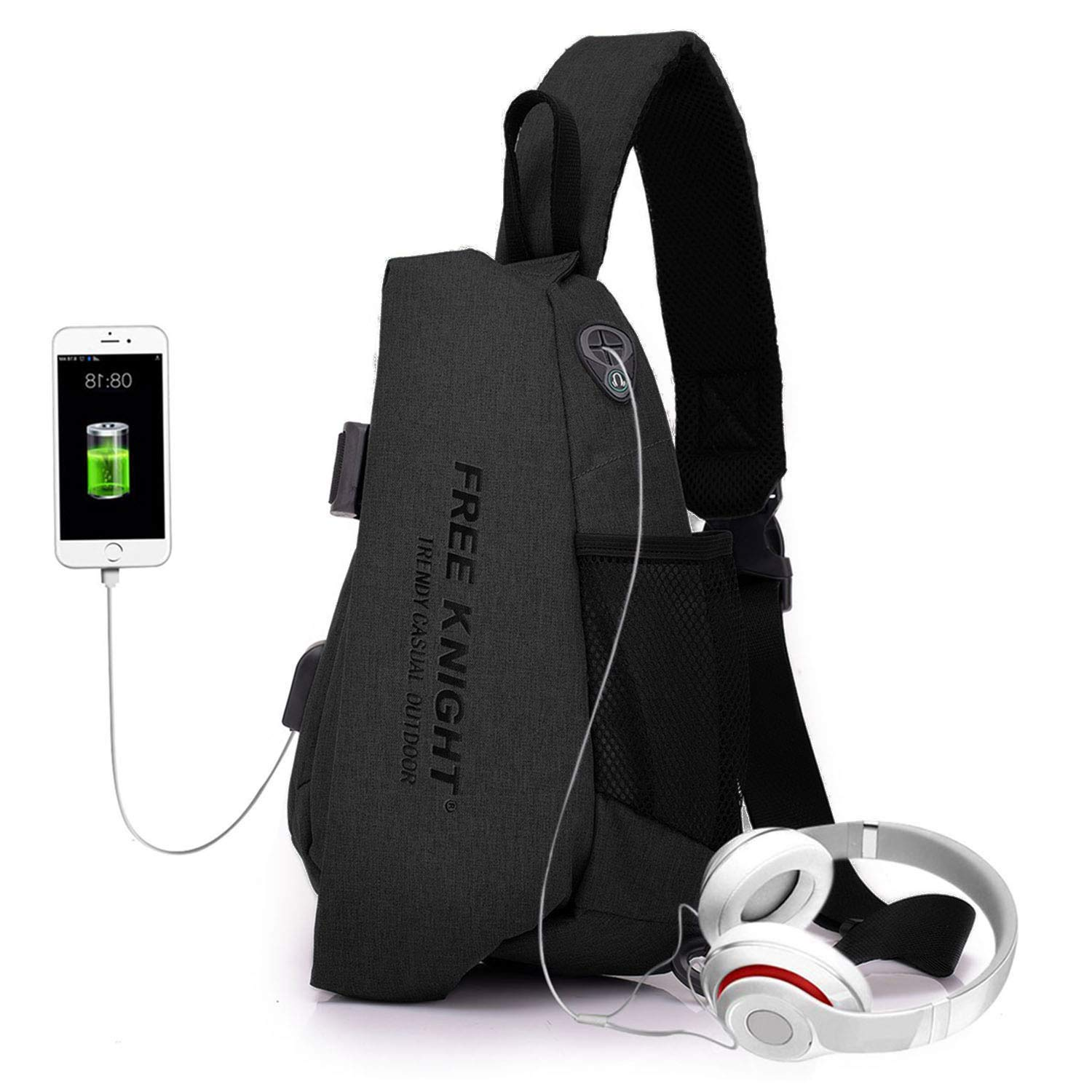 a317fed2cd77 FREE KNTGHT Sling Chest Bag Shoulder Crossbody Backpacks Triangle Rucksack  with USB Charging Port and Headphone Port for Outdoor Hiking Casual Men  Women