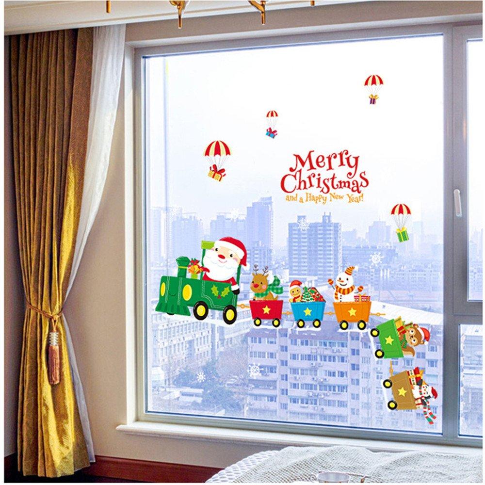 Bonhomme de neige Autocollants Dessin animé Train Amovible mur Autocollants Noël Décorations les fenêtres Décors Mystery&Melody