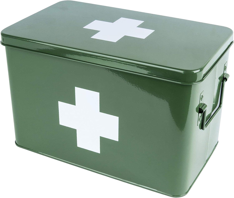 PT Living - Caja de Almacenamiento, Caja de Medicina, Accesorios para el hogar, Metal, Verde, Grande: Amazon.es: Hogar