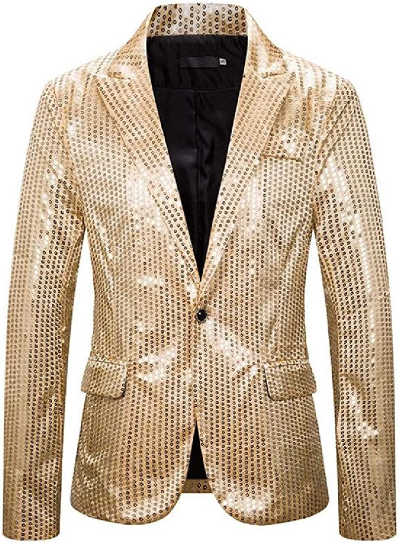 Tralounry Mens Single Button Nightclub Sequin Casual Leisure Blazer Suit Coat Golden