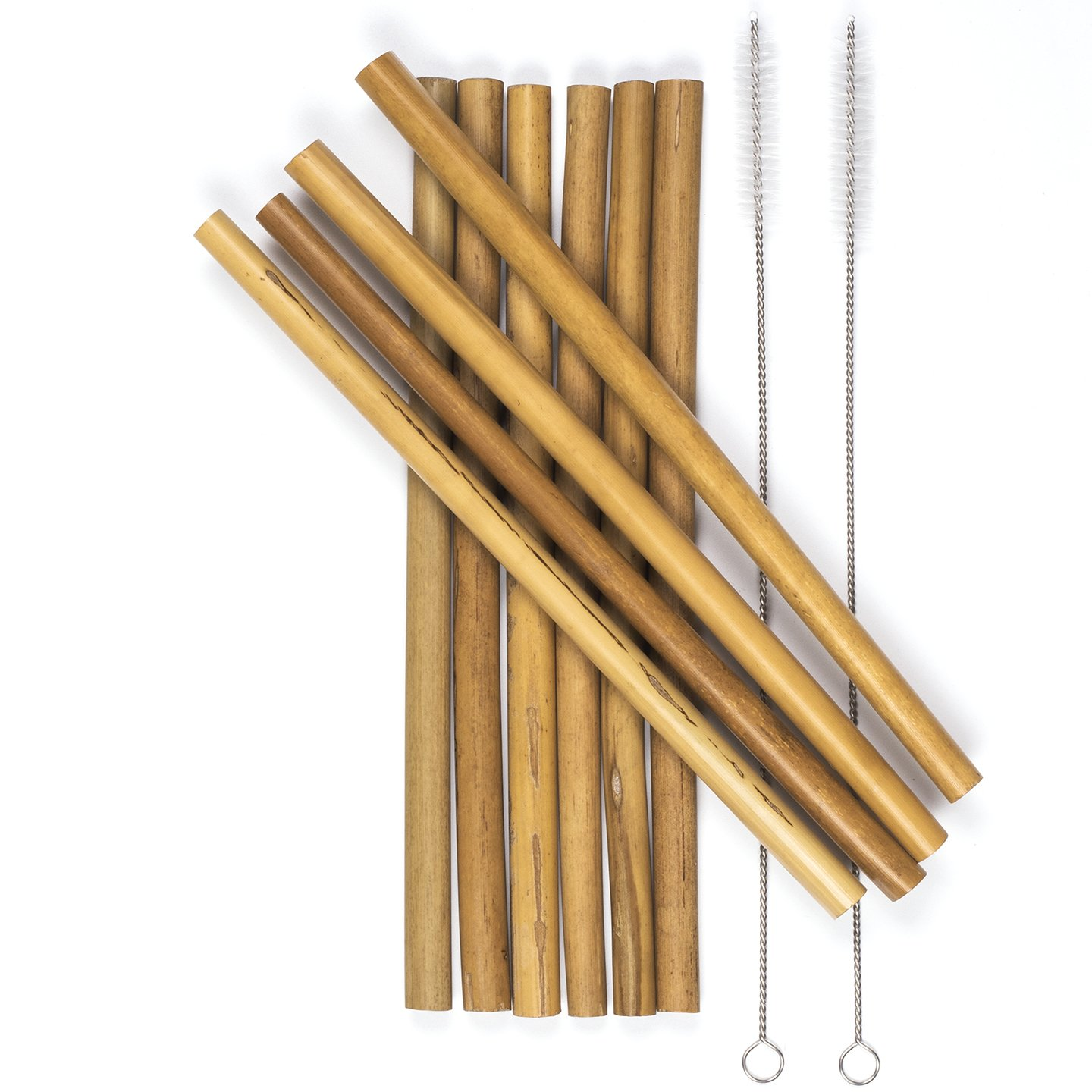 Reusable Bamboo Drinking Straws for Hot and Cold drinks, and Smoothies. Ocean Friendly. Biodegradable. Wide mouth extra-long 9-inch, 10-pack. Colors and Straw Widths Vary – Comes with 2 cleaning brush