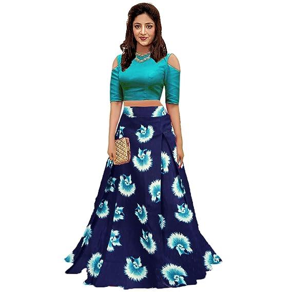 803b47ee98 ESENCEE Women's Semi Stitched Banglori Satin Lehenga Choli (Turquoise, Free  Size): Amazon.in: Clothing & Accessories