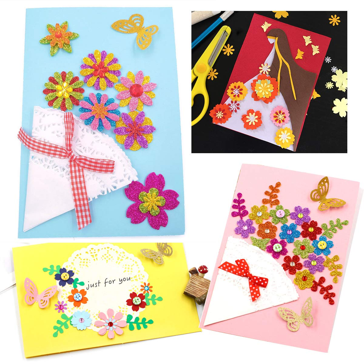 Round Wave Circe Crown Sunflower Shape for Kids Party Favors Star GeeVen 8 Pieces Paper Punchers Craft Holes Punch Scrapbook Punches 10 Sheets Glitter Sticker Paper Rose Heart