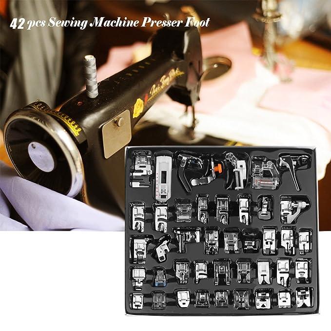 Kit de prensatelas para máquina de coser, piezas de repuesto y accesorios para máquinas Brother o Singer (Set de 42 Piezas)