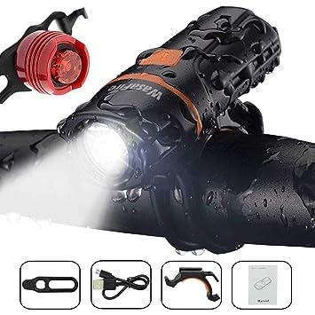 Juego de luces LED para bicicleta, luz delantera y trasera superbrillante, recargable por USB