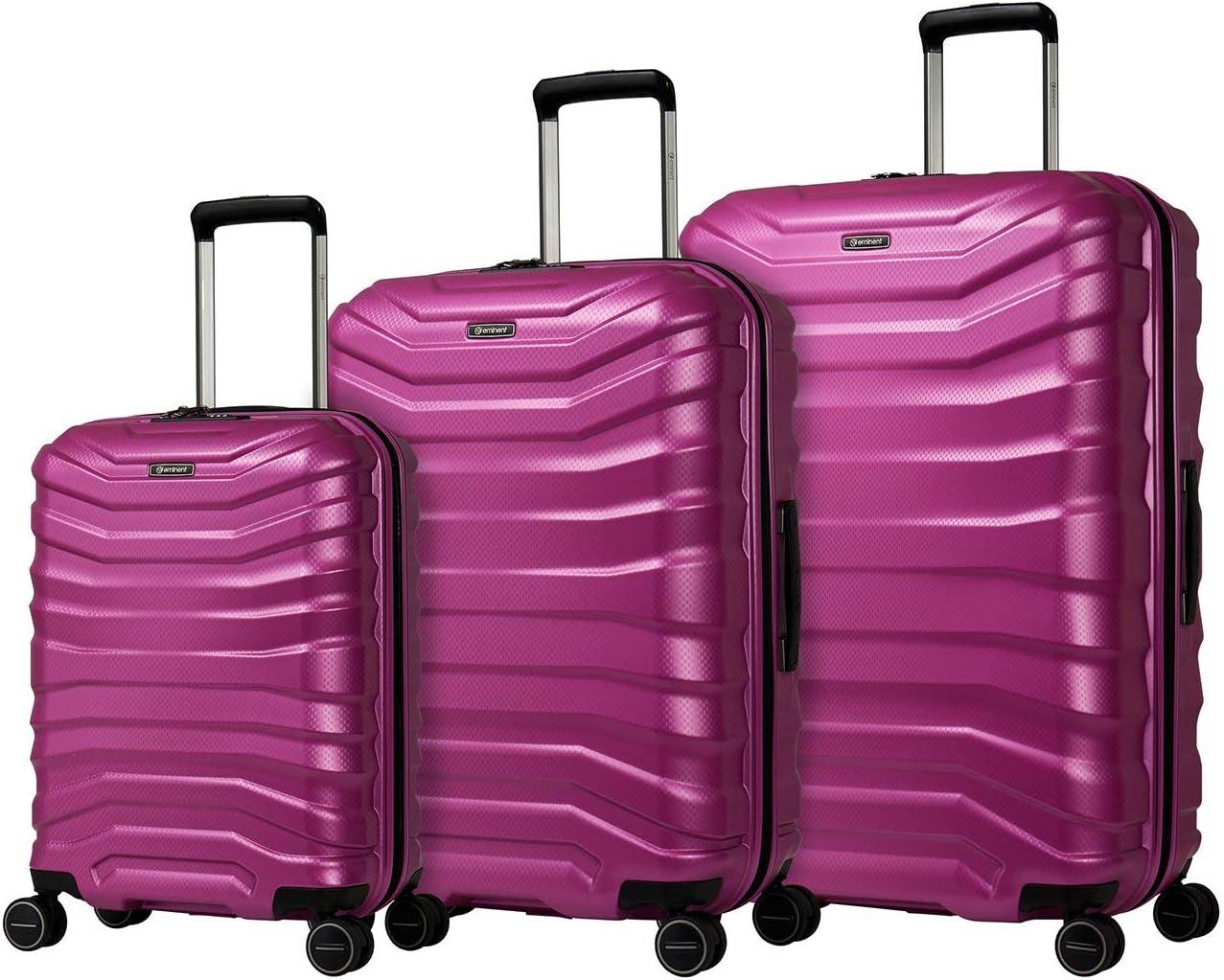 Eminent Juego de Maletas Aero 3 Piezas (1xMaleta Cabina & Maleta de Viaje M+L) Eco Maletas rígidas y Ligeras 4 Ruedas Dobles silenciosas Rosa