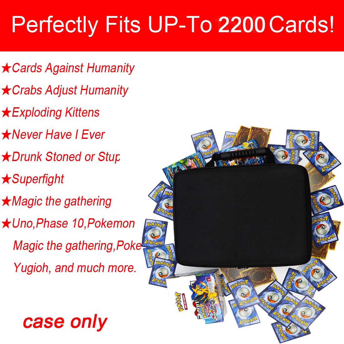 Card Games and All Other Card Game Extensions /… Big Trend Ultra-Large Capacity Hard Game Card Holder can Hold More Than 2,200 Cards C Black H Card Games Suitable for Major Card Games A