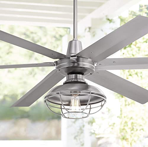 60 Turbina Max Industrial Outdoor Ceiling Fan with Light LED Remote Control Brushed Nickel Open Cage Damp Rated for Patio Porch – Casa Vieja