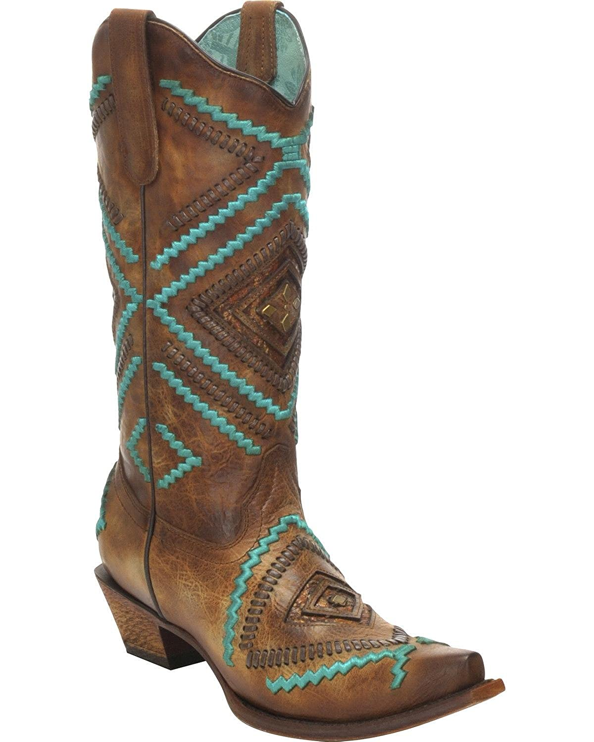 Corral Women's Honey Embroidered Woven Cowgirl Boot Snip Toe - C3134