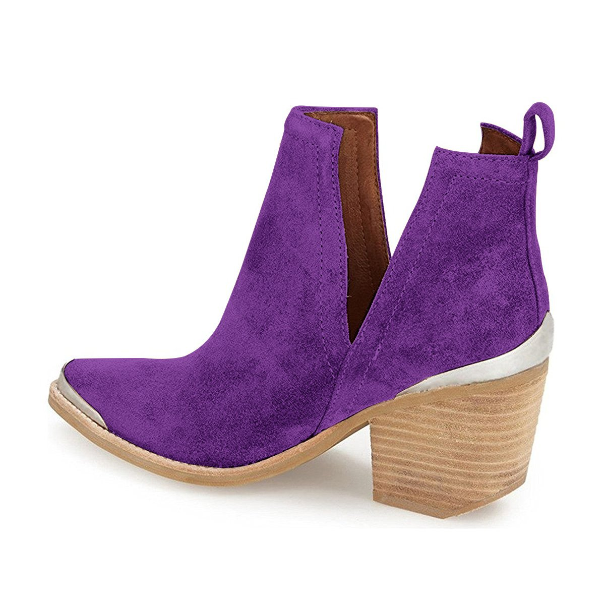 YDN Women Ankle Booties Low Heel Faux Suede Stacked Boots Cut Out Shoes with Metal Toe B01N015RUA 15 M US|Purple