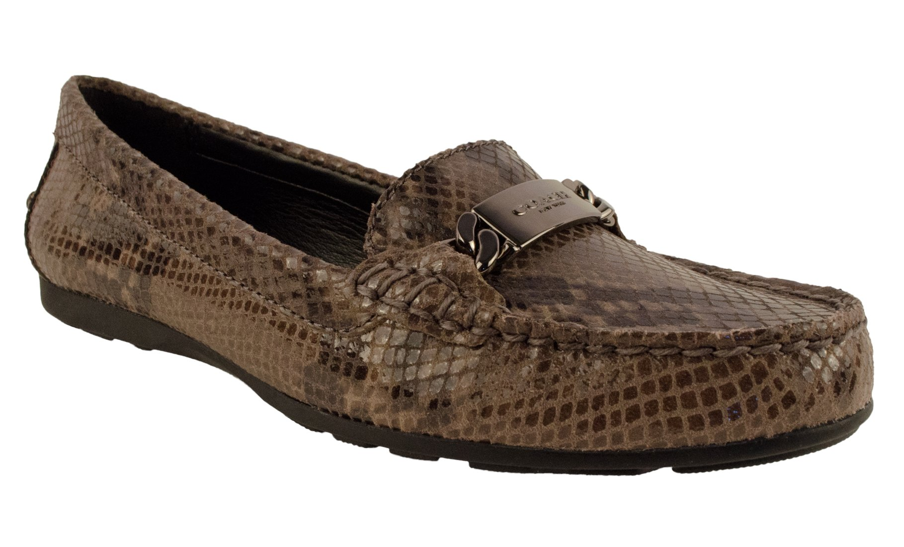 Coach Womens Olive Sand Printed Snake Closed Toe Loafers