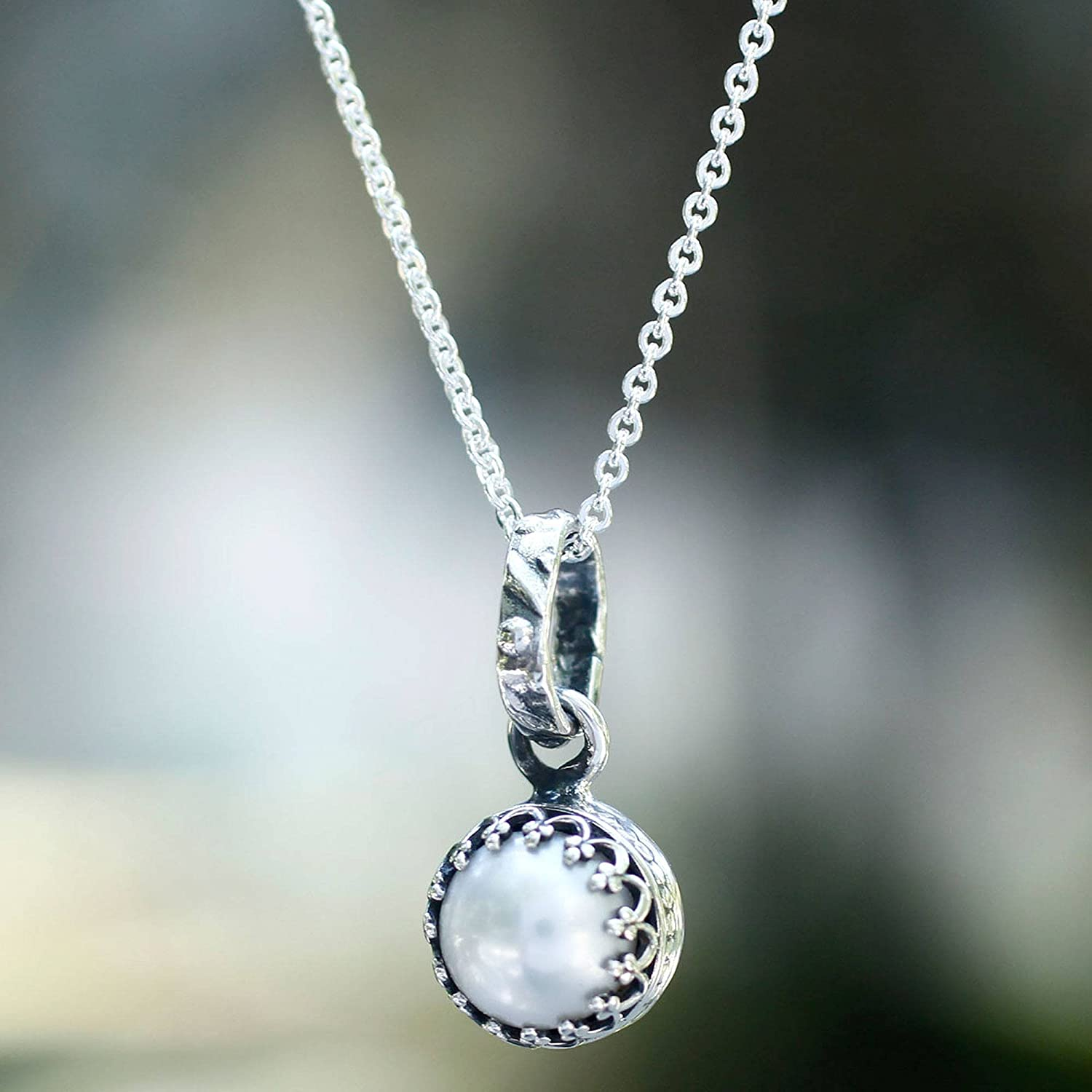 NOVICA Silver White Cultured Freshwater Pearl .925 Sterling Silver Necklace 17.75 Taxco Royalty