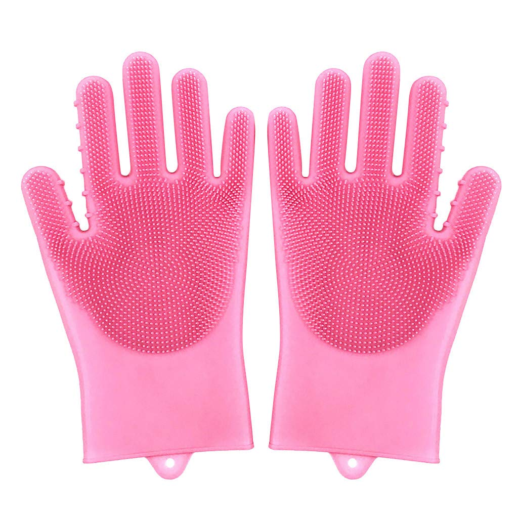 GXOK Heat Resistant Magic Reusable Silicone Gloves Cleaning Brush Dishwashing Gloves for Kitchen (Pink)