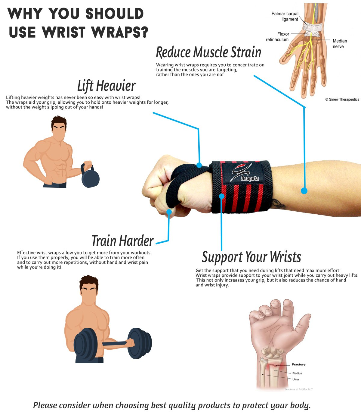 Wrist Wraps for Bodybuilding, Gym, Kettlebells, Workout, Strength Training, Weightlifting, Powerlifting, Cross Training - Fitness Wrist Wraps Support for Men/Women - Best Material&Design (red-black)