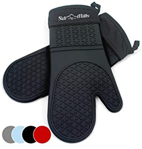 Frux Home and Yard Black Silicone Pot Holder Mitts - 1 Pair of Extra Long Professional Heat Resistant Pot Holder & Baking Gloves - Food Safe, BPA Free FDA Approved with Soft Inner Lining