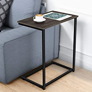 Homemaxs C Table Sofa Side End Table, Small Side Tables for Eating, Working and Writing in Living Room, Bedroom, Couch & Small Spaces