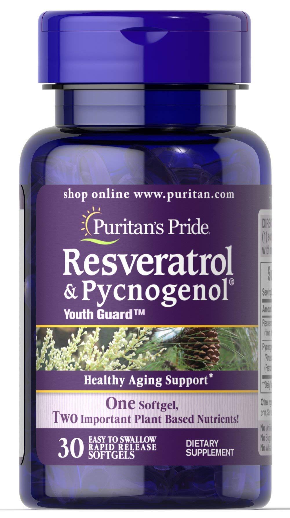 Puritan's Pride Resveratrol 100 mg & Pycnogenol 30 mg-30 Softgels by Puritan's Pride