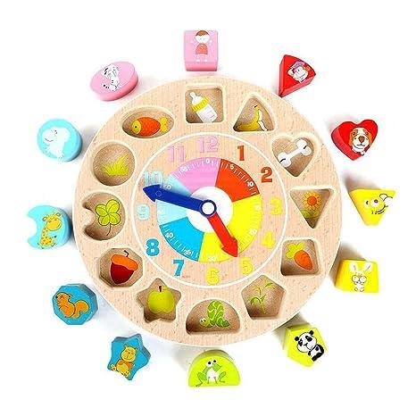 Formas digitales de madera Relojes pareados, juguetes educativos para niños