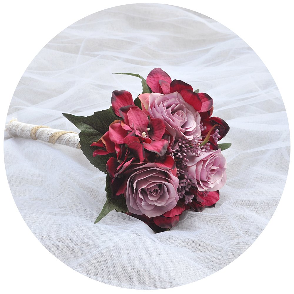 ULAPAN Wedding Bouquets For Bride,Bridal Bouquets Holding Flowers,Artificial Flowers For Wedding,burgundy-lavender,F20 TOPULAPAN