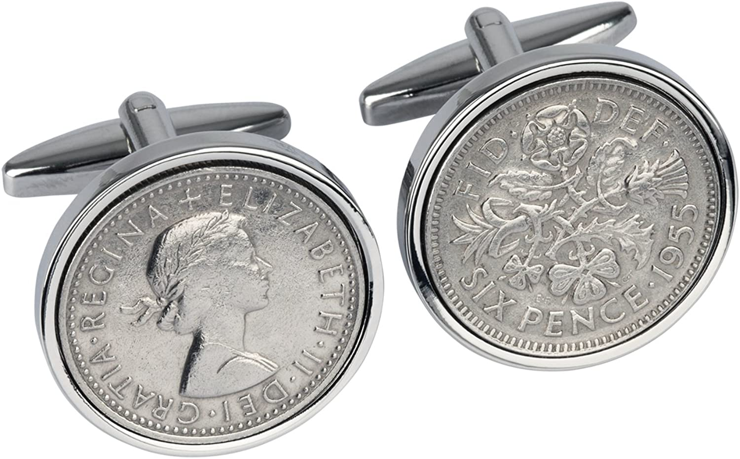 1955 English Sixpence Cufflinks- Genuine England Coin Cufflinks- 100% Satisfaction- In Gift box