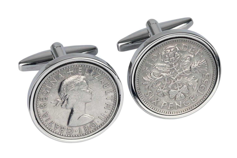 1955 English Sixpence Cufflinks- Genuine England Coin Cufflinks- 100% Satisfaction- In Gift box