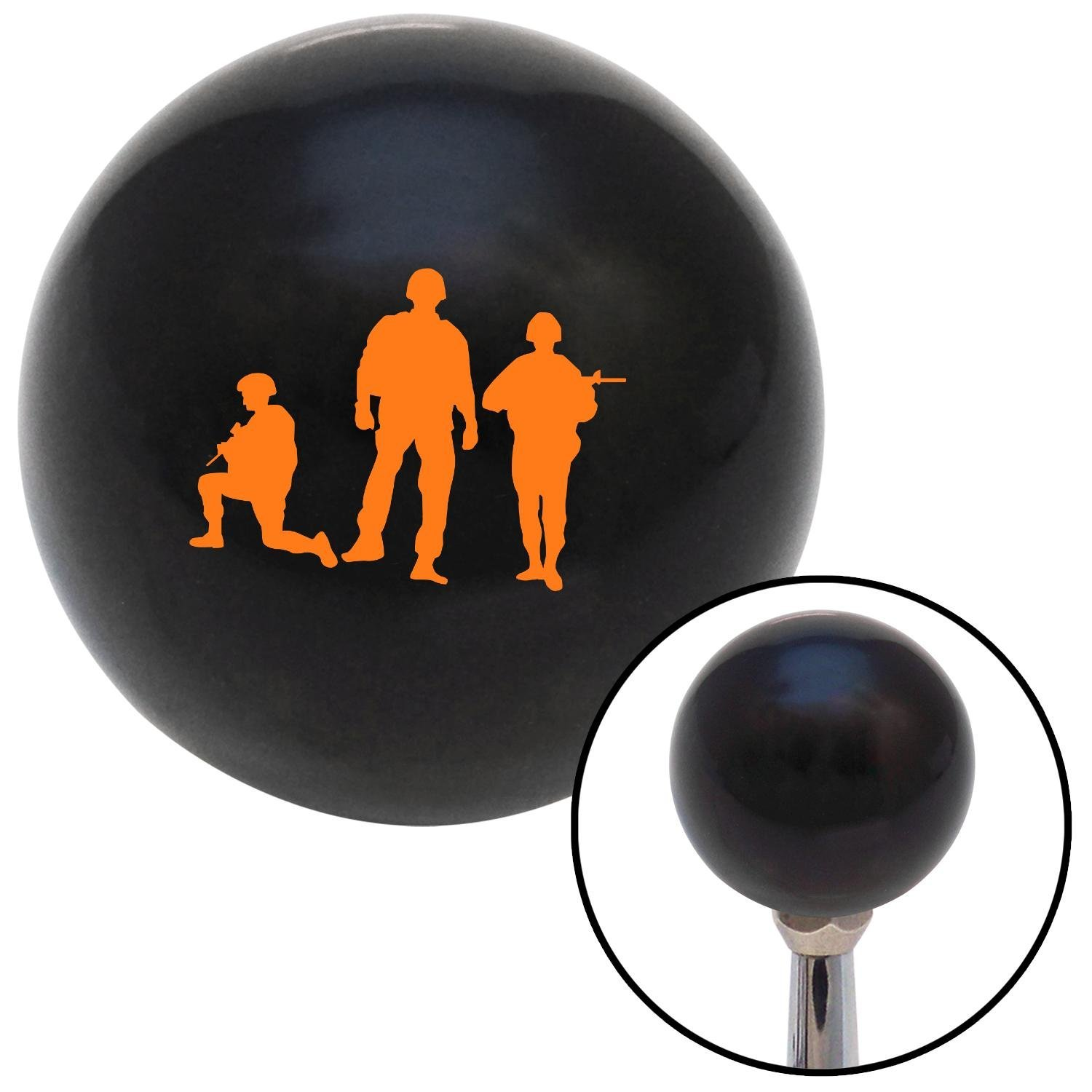 American Shifter 106947 Black Shift Knob with M16 x 1.5 Insert Orange Soldiers