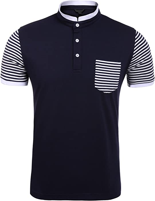 4366ed3e Jingjing1 Men Stand Collar Polo T Shirt Short Sleeve Striped Patchwork  Contrast Color Slim (S