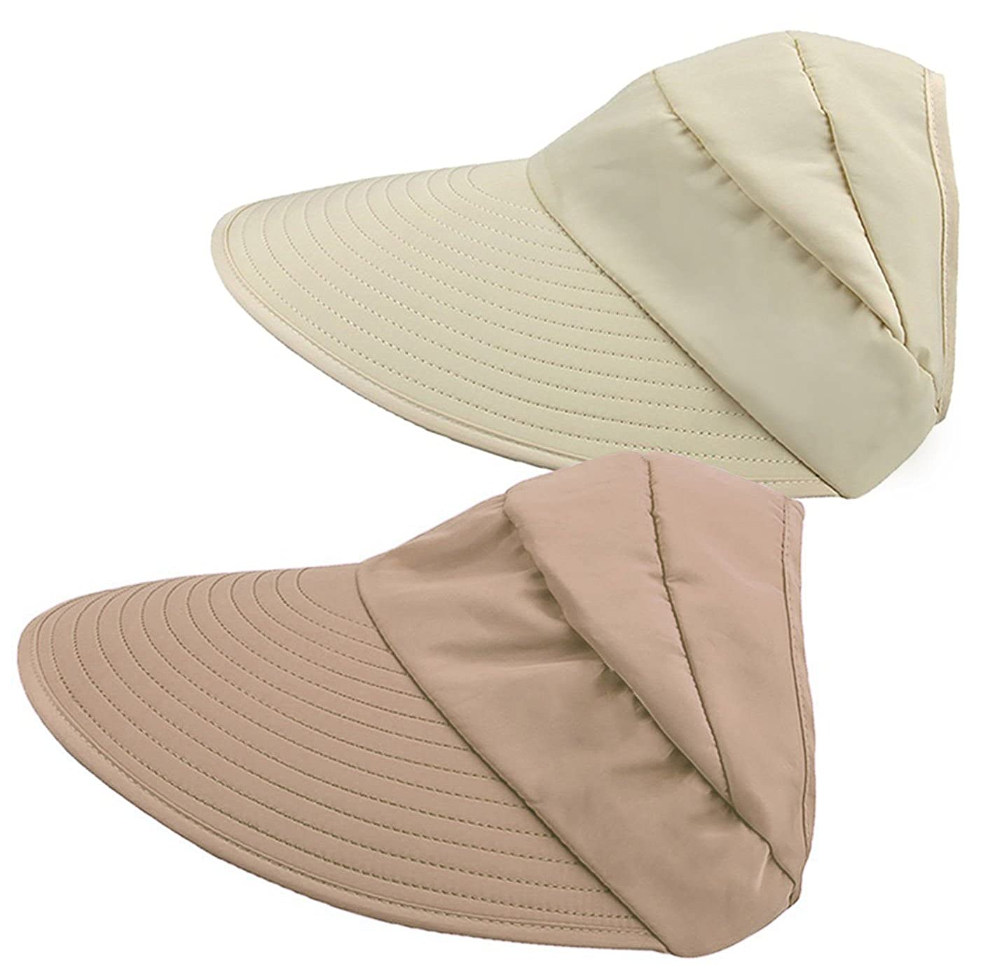 _Beige+ Khaki HINDAWI Women Winter Warm Knit Hat Wool Snow Ski Caps with Visor