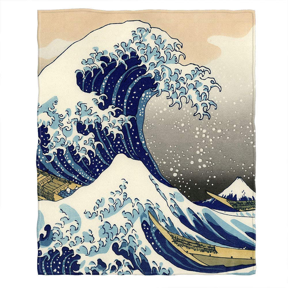 Moslion Soft Cozy Throw Blanket Japanese The Great Wave Off Kanagawa Pattern Fuzzy Warm Couch/Bed Blanket for Adult/Youth Polyester 60 X 80 Inches(Home/Travel/Camping Applicable)