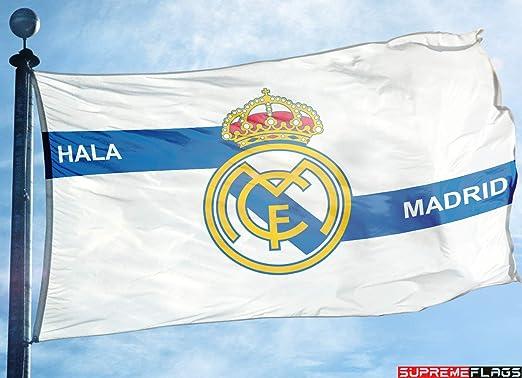 Bandera del Real Madrid 3 x 5 pies Blanco España Futbol Bandera de Fútbol HALA Madrid: Amazon.es: Deportes y aire libre