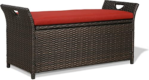 Iwicker Patio Wicker Storage Bench,Outdoor Rattan Deck Box
