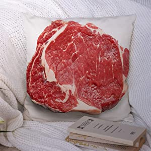 Throw Pillow Covers Polyester Chop Slice Raw Beef Steak Isolated Nutrition Butchery On Food Tenderloin Protein Meat Drink Cook Decorative Soft Cushion Case Chair Couch Home 18x18 Inch