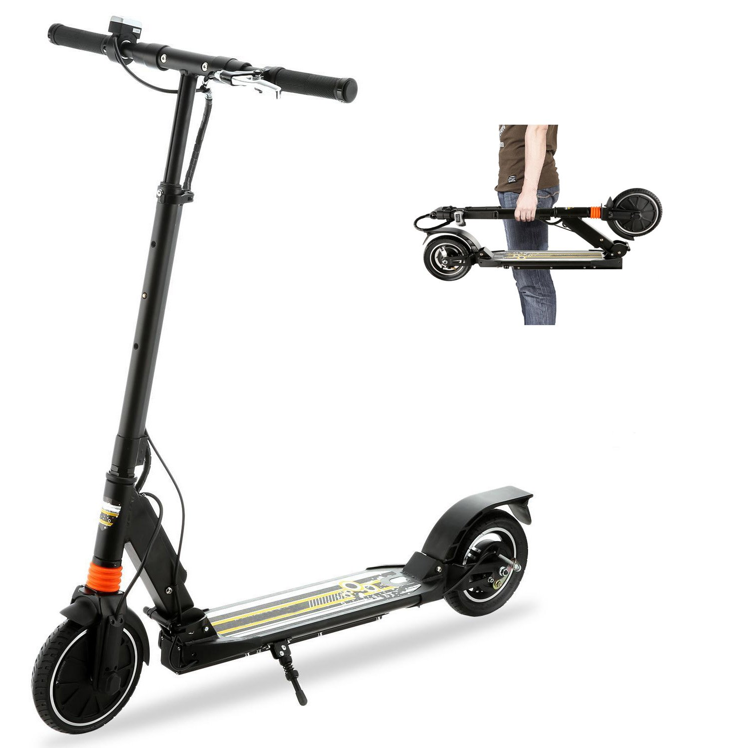 Foldable Lightweight Adult Electric Kick Scooter/Bike with Dual Suspension, 36V/ 5AH 250W Brushless Motor 12+ MPH (20km/h) & Front EABS & Rear Drum Brake--Up to 220 Lbs[US STOCK]
