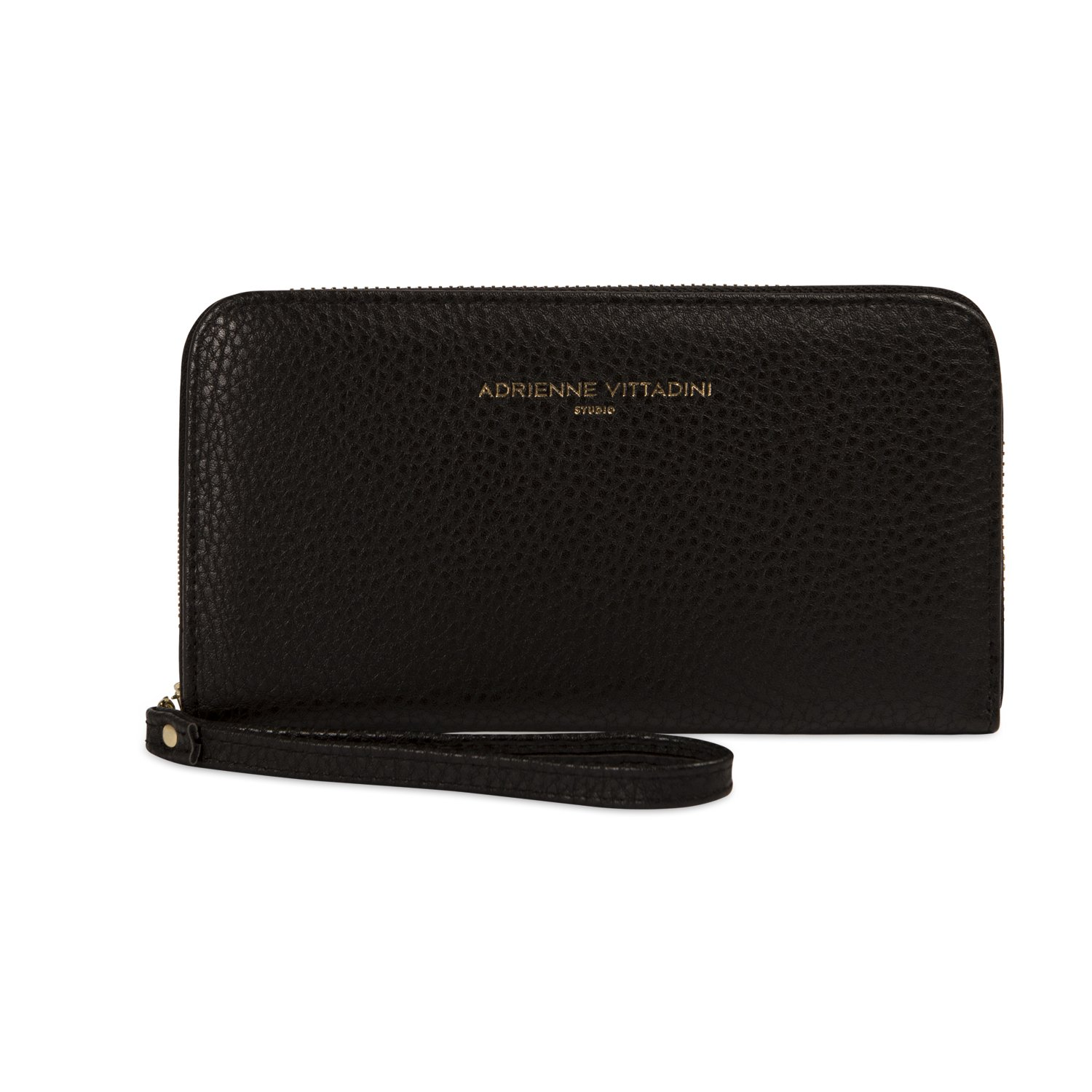 Adrienne Vittadini Charging Zip Around Wallet Wristlet - iPhone Android - Black Pebble