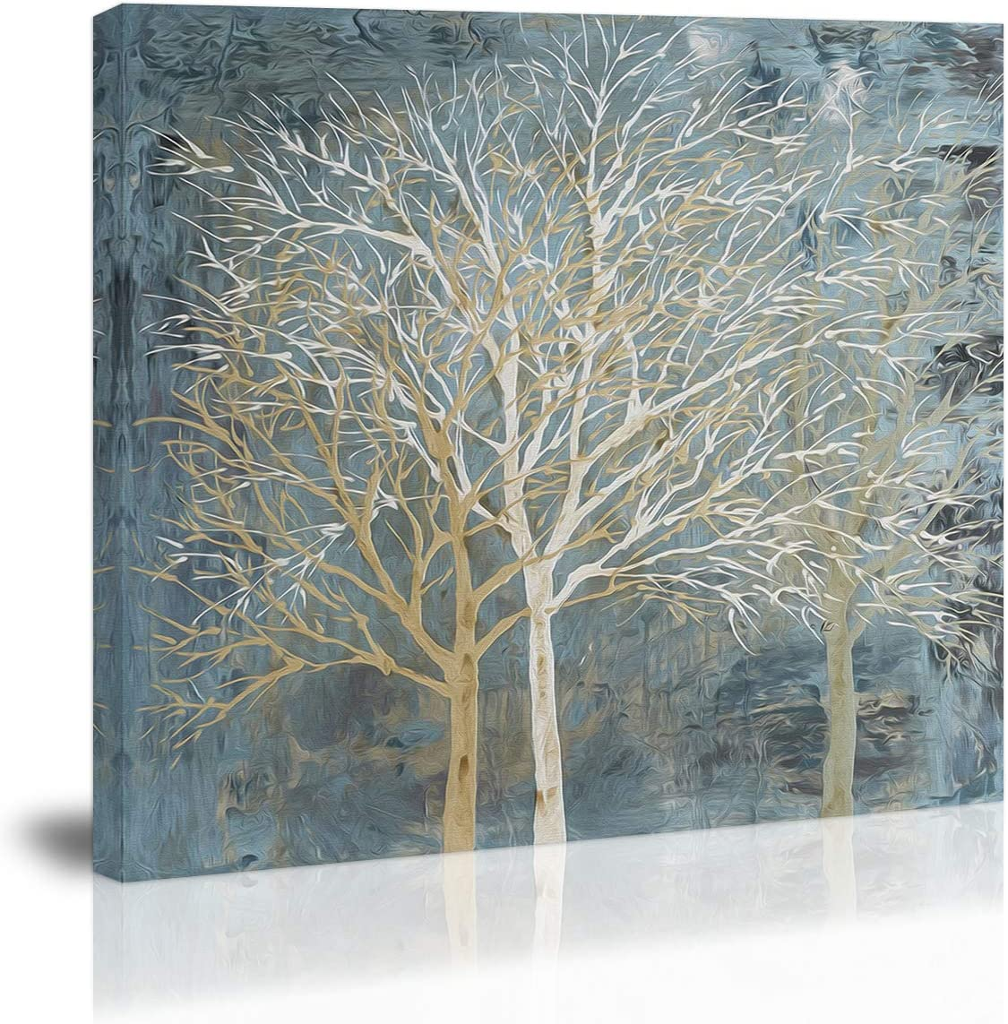Blue White Abstract Tree Wall Art Decor Canvas Painting Kitchen Prints Pictures for Home Living Dining Room