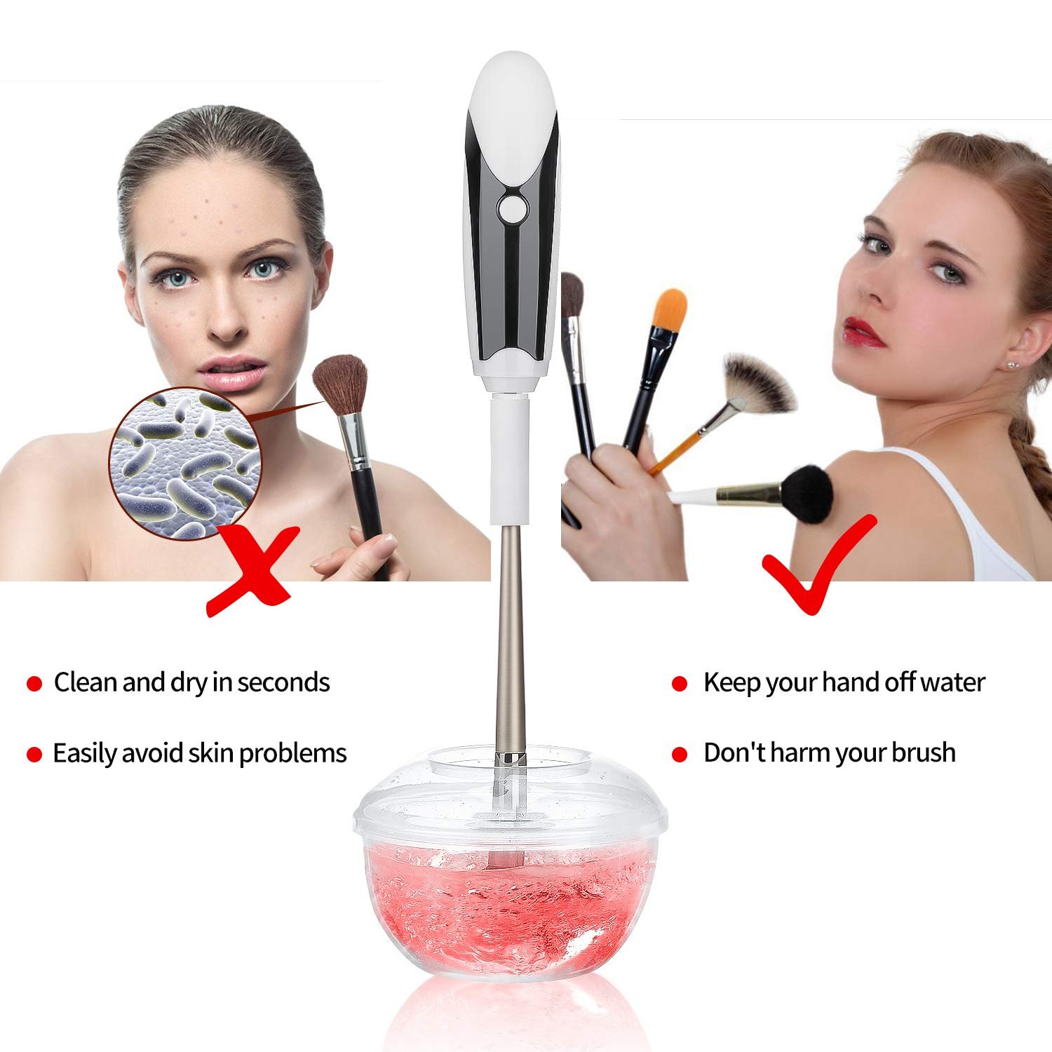 Electric Makeup Brush Cleaner and Dryer Spinner with 6 Rubber Holders, Automatic Brushes Cleaner Machine Kit - Quick, Easy and Effortless Way to Deep Cleans Dries All Makeup Brushes in Seconds