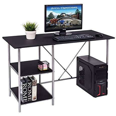Tangkula Computer Desk Compact PC Laptop Home Office Workstation With  Shelves