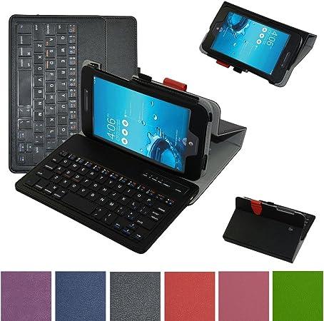 Memo Pad 7 LTE ME375CL Bluetooth Teclado Caso, Mama boca Slim funda de piel sintética con función atril con Romovable Bluetooth Teclado para 7