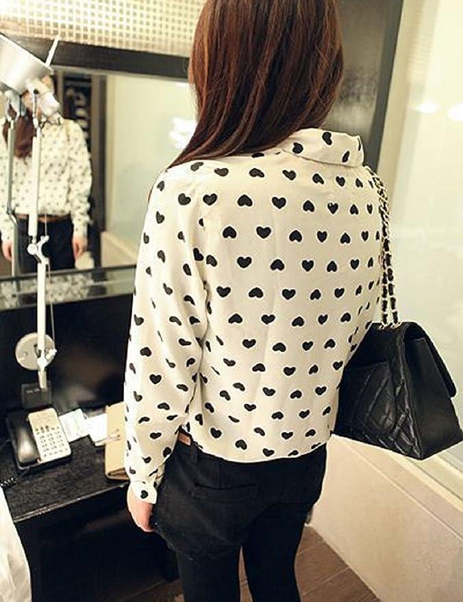 Malloom®moda mujer manga larga camisa gasa dama amor corazon dulce blusa tops (S): Amazon.es: Ropa y accesorios