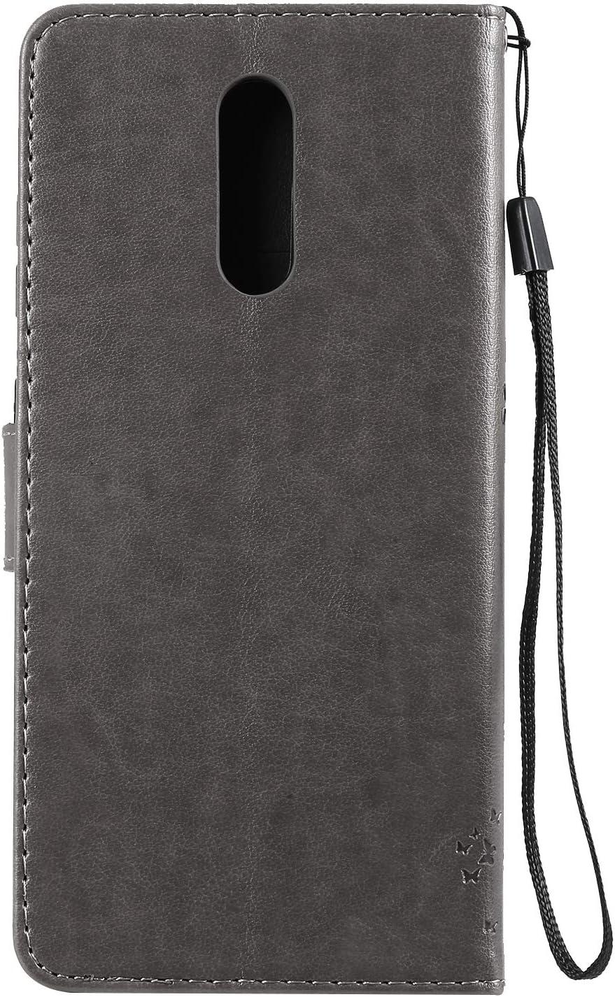 QPOLLY Compatible avec Nokia 3.2 Coque /à Rabat en PU Cuir Chat et Arbre Emboss Portefeuille Fermeture /à Aimant Protecteur Etui Housse avec Fente Carte de Cr/édit Fonction Stand,Gris