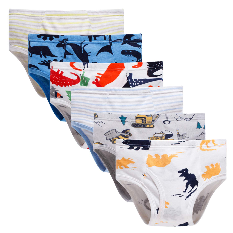 Boboking Little Boys Briefs Dinosaur Truck Toddler Kids Underwear (Pack of 6) BO201
