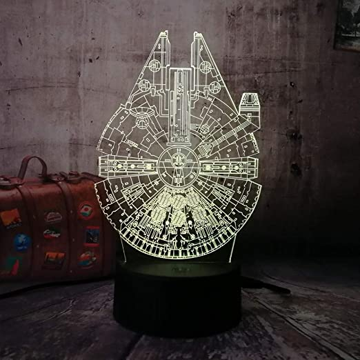 KangYD Luz nocturna 3D/Spacecraft 3D Led Night Light 7 colores ...