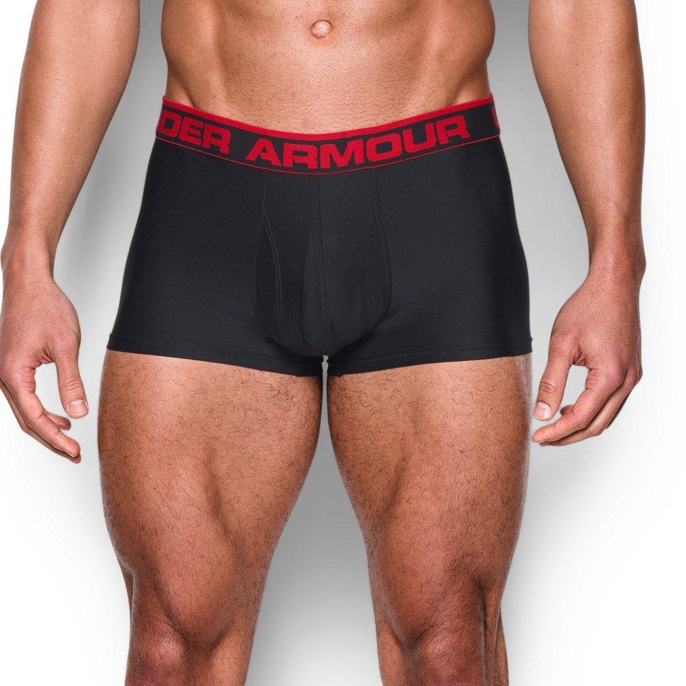 "Under Armour Men's Original Series 3"" Boxerjock, Black/Red, Large by Under Armour"