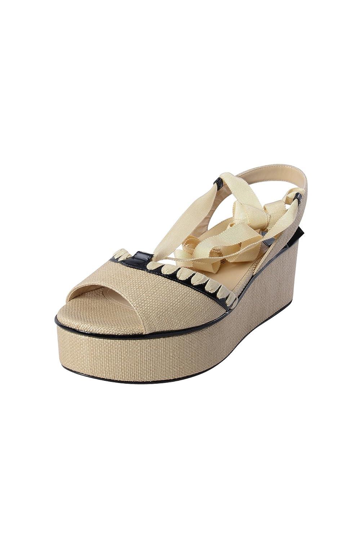 Paul Andrew Womens Dafni Lace Up Platform Sandals B016JOYOZ2 6 B(M) US Straw Black