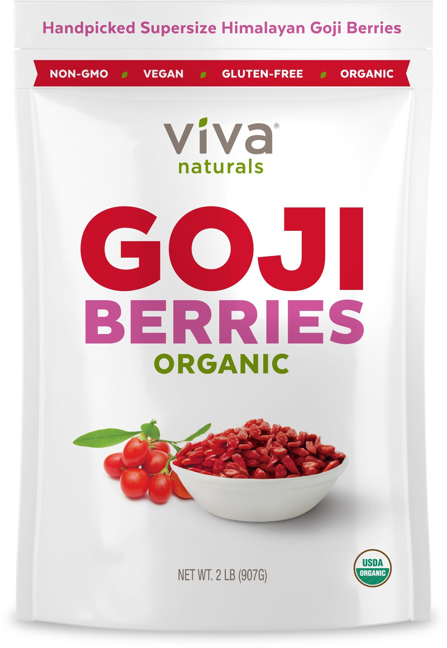 Viva Naturals #1 Premium Himalayan Organic Goji Berries, Noticeably Larger and Juicier, 2lb bag