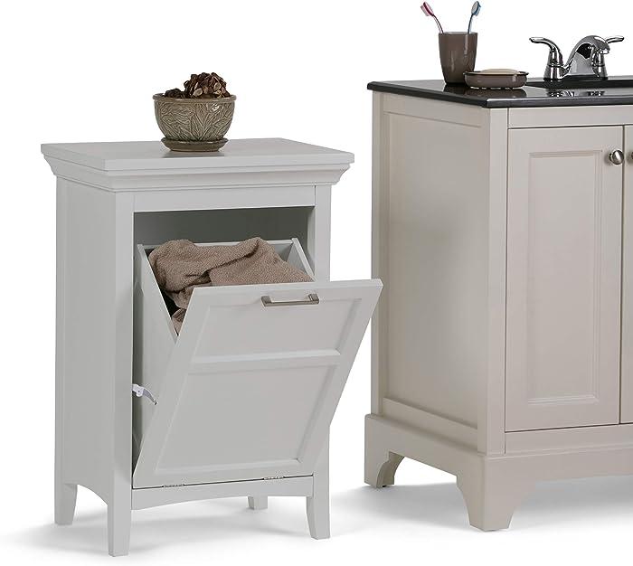 Simpli Home Avington 29.9 inch H x 20.5 inch W Laundry Hamper in Pure White
