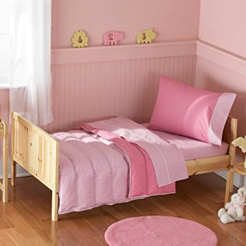 Pem America Crispy Cotton 4 pc Toddler Bedding Set   Pink. Amazon com   Pem America Crispy Cotton 4 pc Toddler Bedding Set