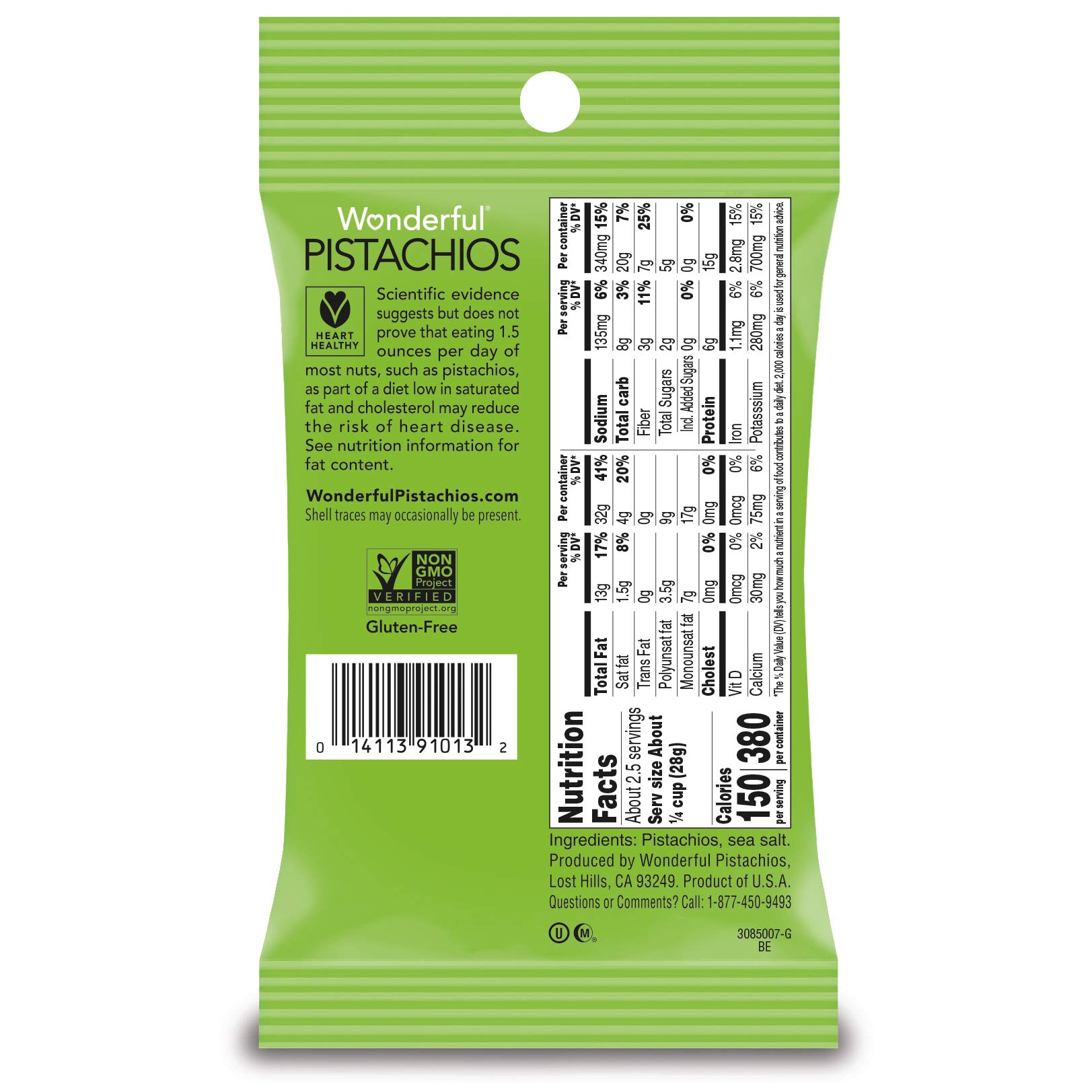 Wonderful Pistachios, No-Shell, Roasted and Salted, 2.5 Ounce Bag (Pack of 8) by Wonderful Pistachios & Almonds (Image #6)