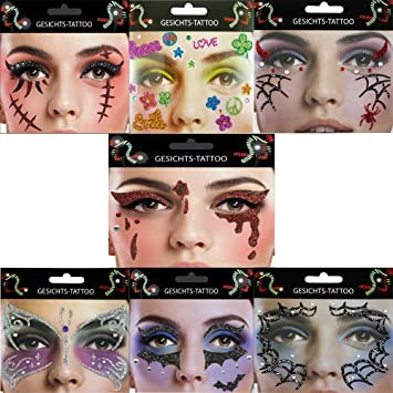 Gesicht Tattoo Face Art Halloween Karneval Trane Fledermaus Flower